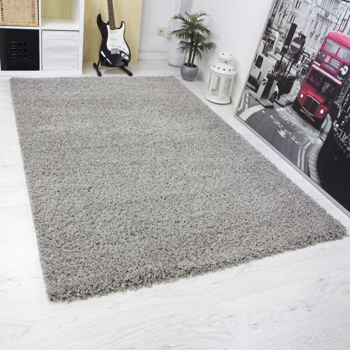 VIMODA Shaggy Teppich Wohnzimmer Hochflor Langflor Teppiche Uni Farben Hohe Qualität Schwarz Grau Rot Lila Grün Creme Braun 160x230 cm