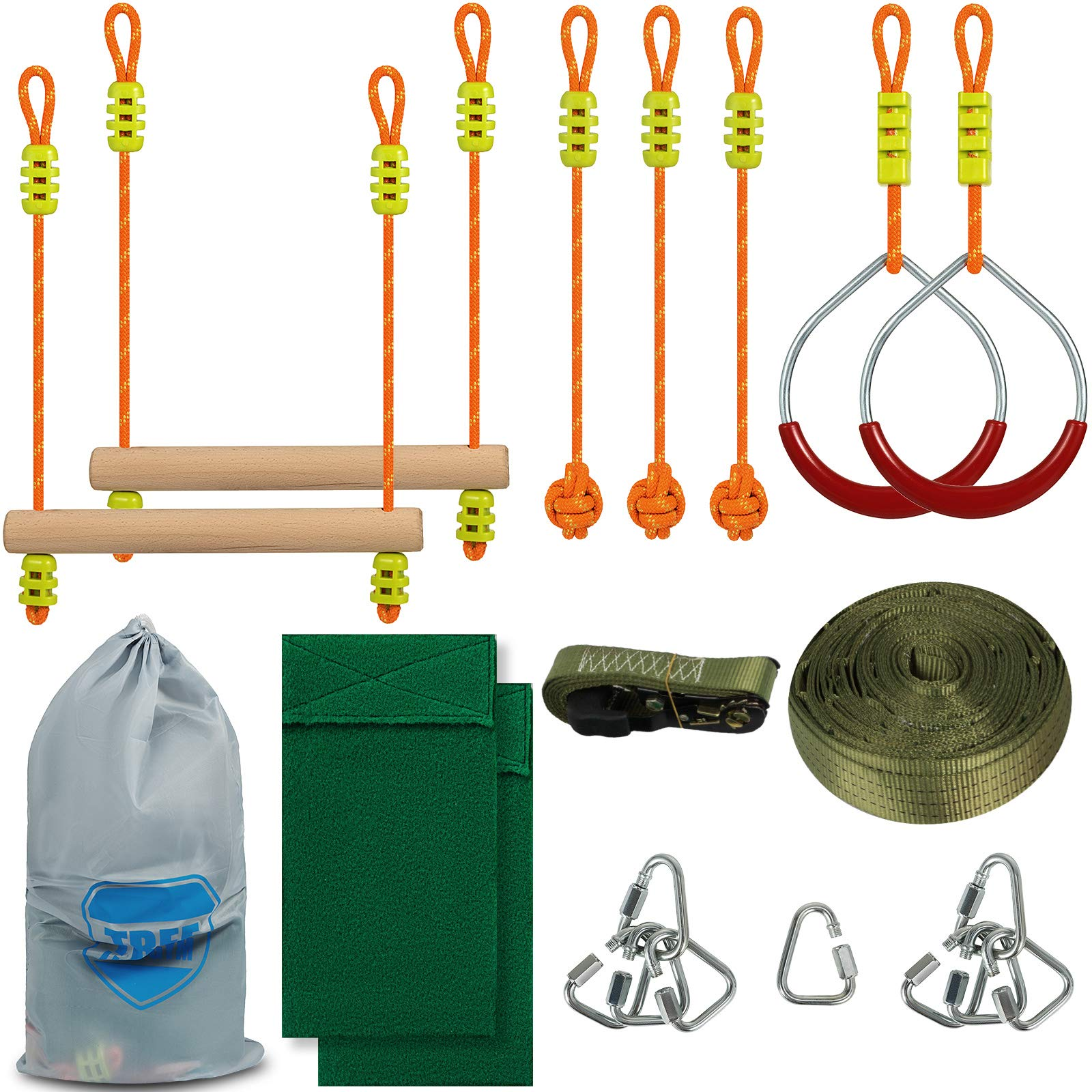 Popsport Ninja Line 45ft Monkey Bar Kit with 7 Hanging Obstacles Slackers Ninjia Line for Kids by Popsport