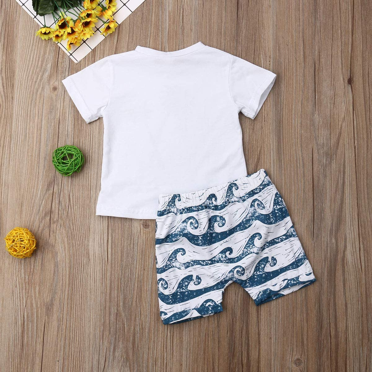BriskyM Childrens Newborn Baby Boy Summer Costume Coco Letter Print Short Sleeve T-Shirt Top Surf Shorts Clothes Set