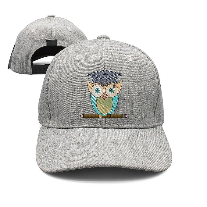 6d1abacd2c7 Happy Graduation Knowledge Owl Woolen Peak Cap Snapback Hat Visor Hats Grey
