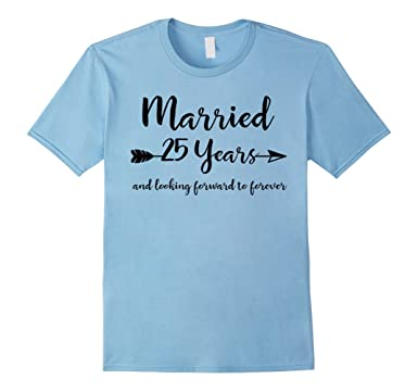 Mens 25th Wedding Anniversary Gifts For Him Her Couples T Shirt 2XL Baby Blue
