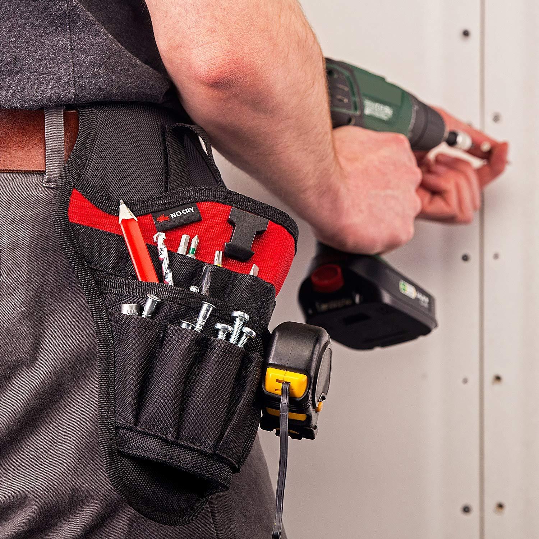 con enganche para cintur/ón Cartuchera para taladro de NoCry bolsillos para accesorios y bucles abiertos para almacenamiento de herramientas y brocas ajuste equilibrado para taladros inal/ámbricos