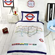 London Underground Tube Map Single/US Twin Duvet Cover and Pillowcase Set