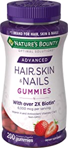 Nature's Bounty Optimal Solutions Advanced Hair, Skin, Nails, 2X Biotin, 200 Strawberry Gummies
