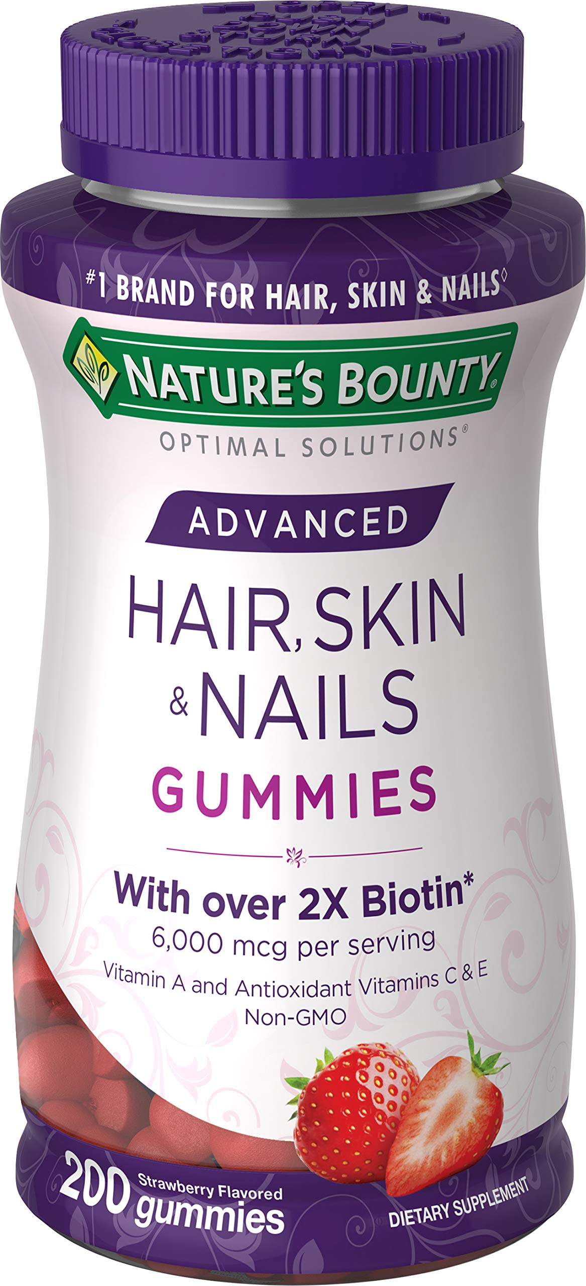 Nature's Bounty Optimal Solutions Advanced Hair, Strawberry, 200 Count