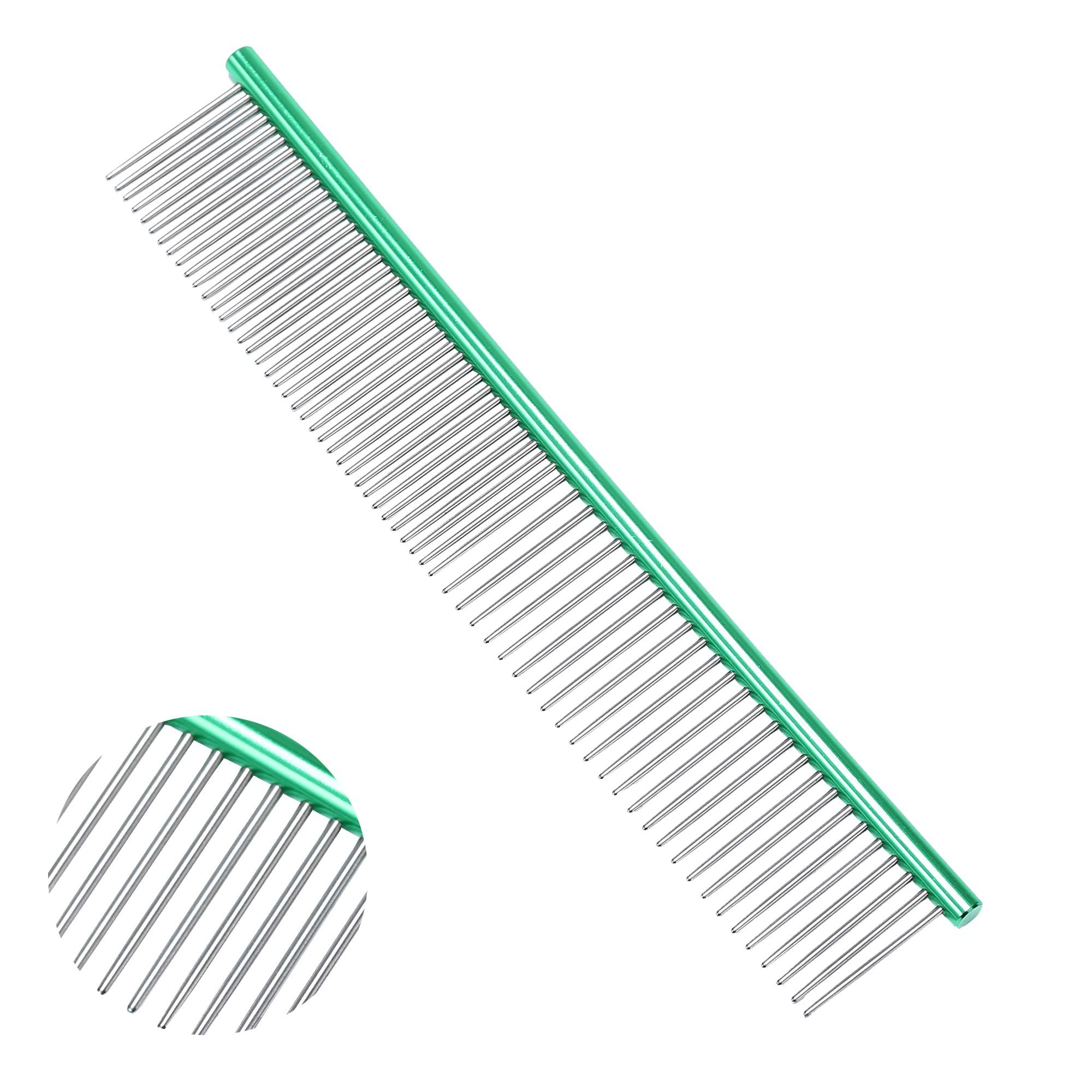 Stainless Steel Dog Comb-Grooming Comb For Dogs, Cats and Other Pets, Great Shedding Tool(GREEN)