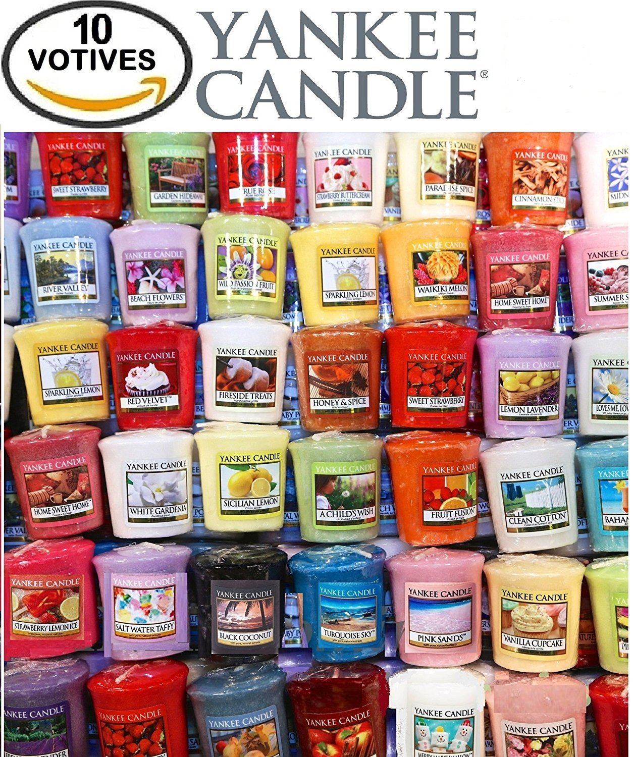 Yankee Candle Votives - Grab Bag of 10 Assorted Yankee Candle Votive Candles (10 Ct Fruit Fragrances Mixed)