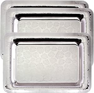 Maro Megastore (Pack of 3 18.5 inch x 13 inch Oblong Chrome Plated Mirror Silver Serving Tray Stylish Rose Floral Engraved Edge Decorative Party Birthday Dessert Buffet Wine Platter Plate TLA-286