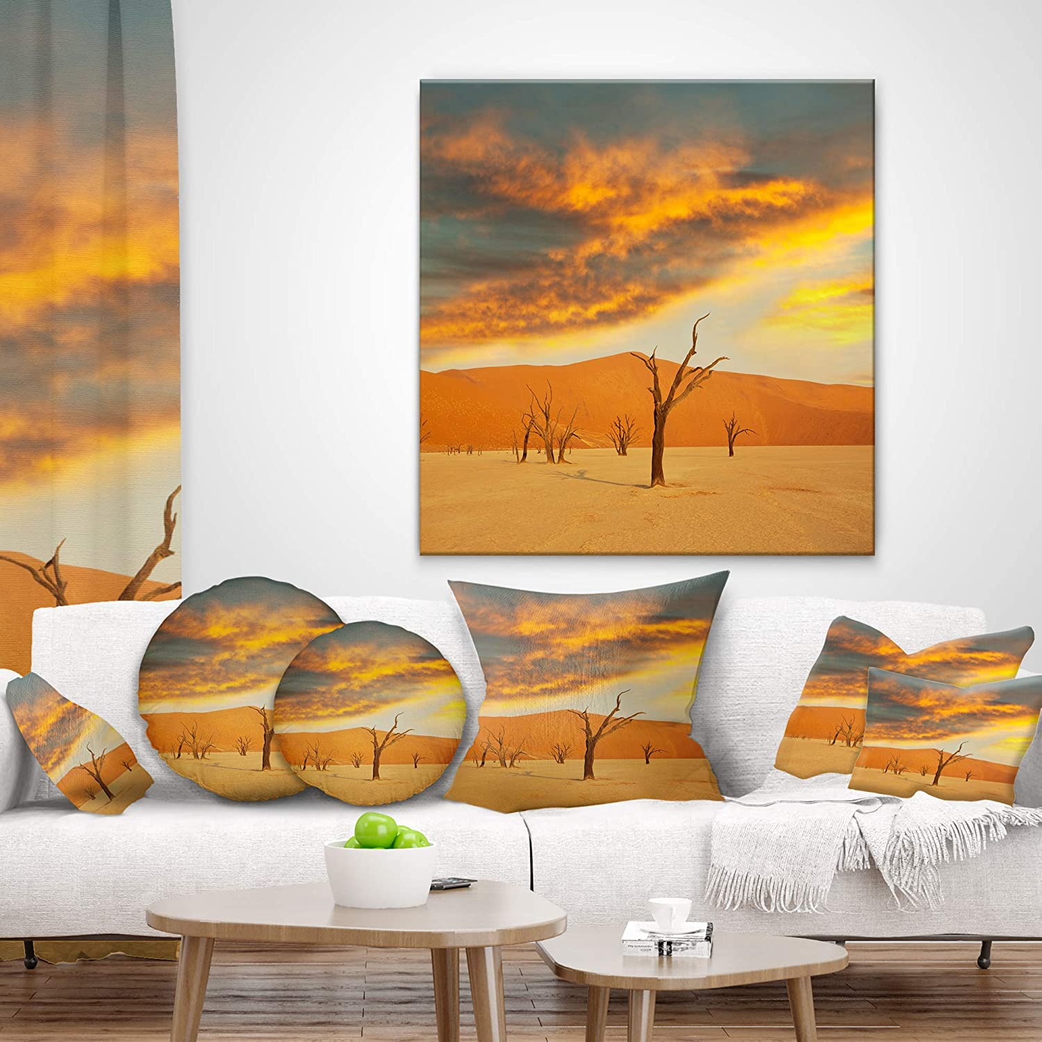 Designart Cu12517 12 20 Colorful Death Valley With Dry Trees African Landscape Printed Lumbar Cushion Cover For Living Room X 20 In Sofa Throw Pillow 12 In Insert Side In Throw Pillow Covers Home