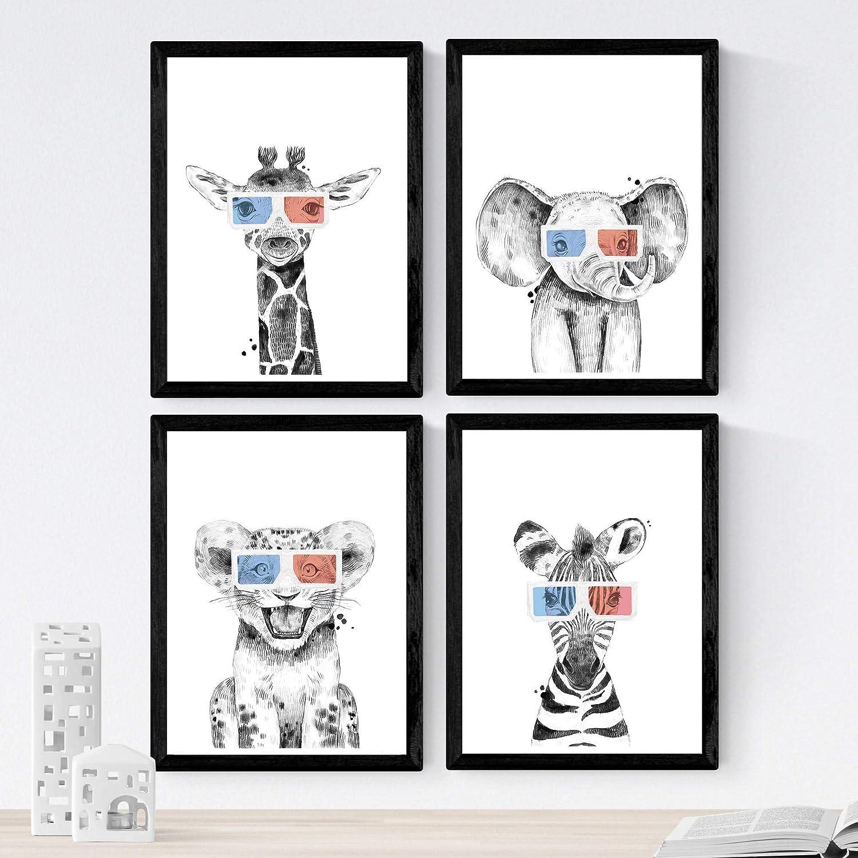 Set de 4 láminas de Animales Infantiles Con Gafas 3D ,en tamaño A4, Poster papel 250 gr alta calidad. Sin Marco