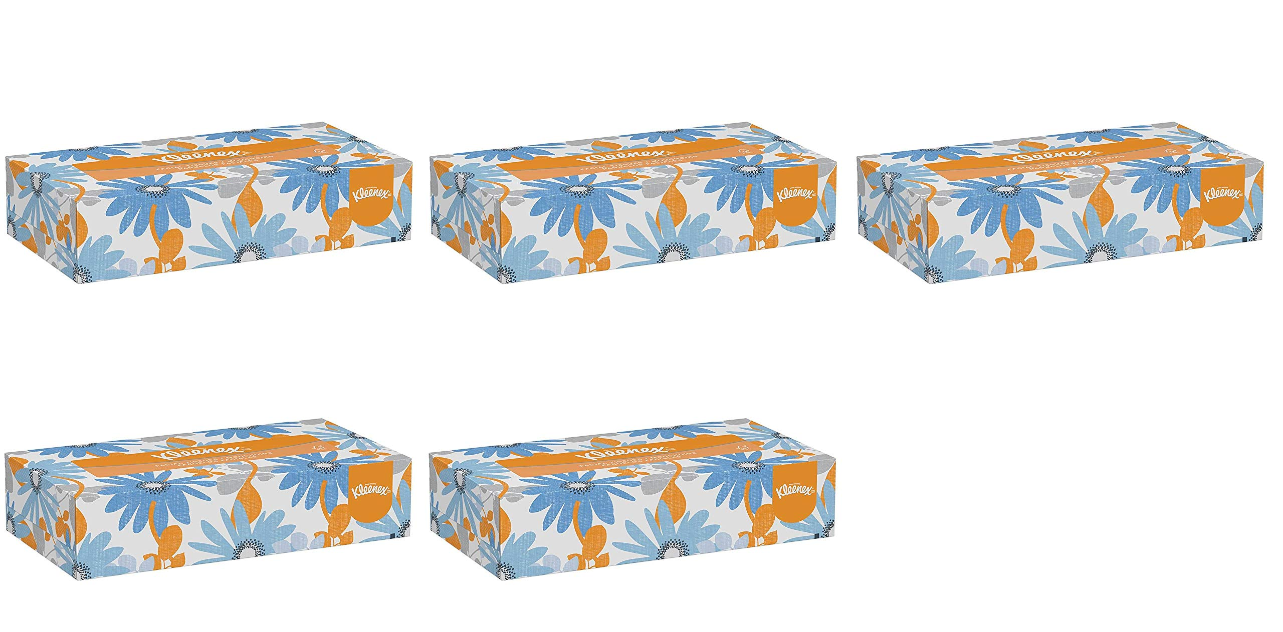 Kleenex Professional Facial Tissue for Business (21606) Flat Tissue Boxes, 5 Pack (1 case of 48)