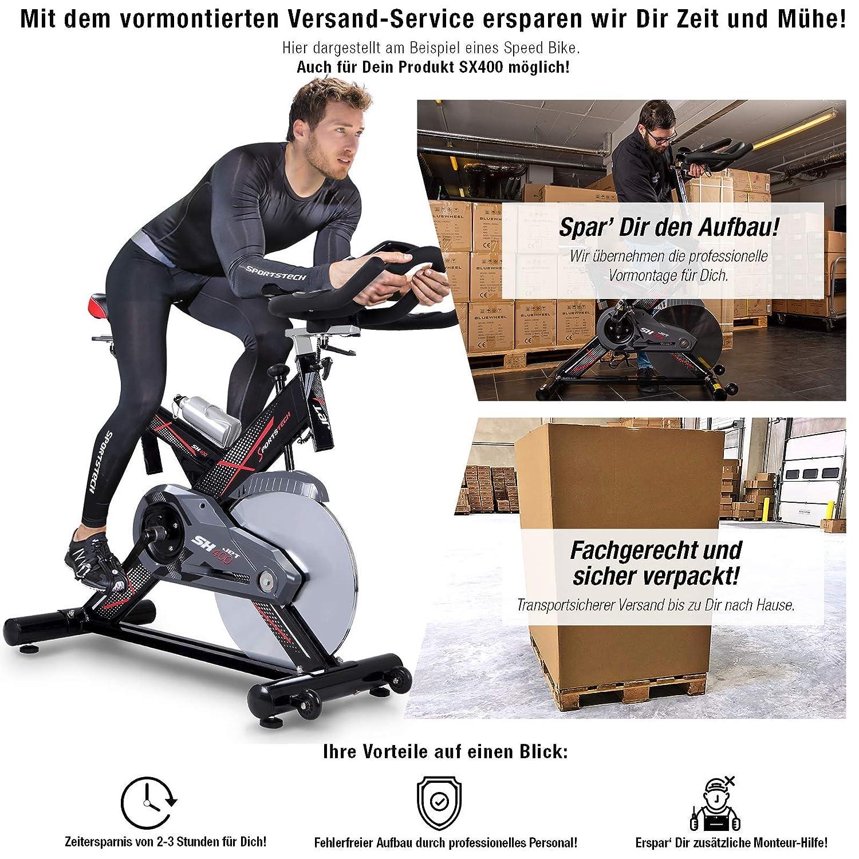 Sportstech Profi Indoor Cycle SX400 mit Smartphone App+Google Street View,22KG Schwungrad,Armauflage,Pulsgurt kompatibel-Speedbike mit flüsterleisem Riemenantrieb-Fahrrad Ergometer bis 150Kg