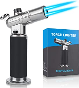 WATSABRO Kitchen Blow Torch,Culinary Butane Torch Lighters Refillable Double Fire Cooking Torch,Mini Adjustable Flame Butane Lighters for Dabs,Creme Brulee,Food and BBQ (Butane Gas Not Included)