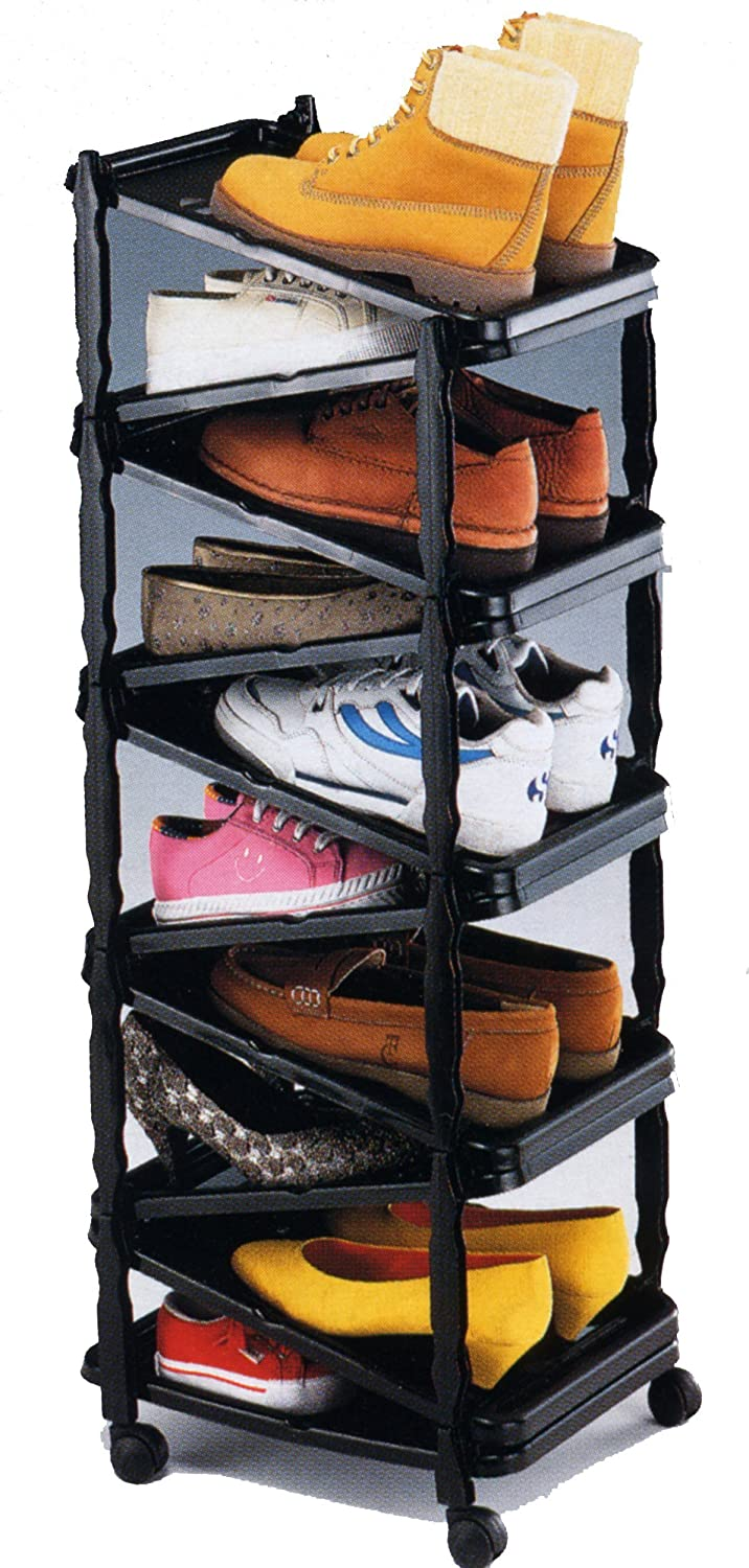 amazoncom sana enterprises a shoe rackorganizer go vertical save space foldable on wheels home kitchen - Vertical Shoe Rack