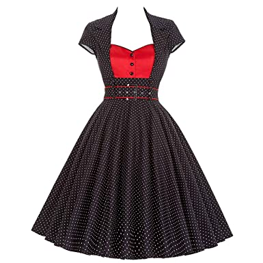 Trendy-Nicer Elegant Partys Sexy Robe Rockabilly 1950s 60s Vestidos Retro Polka Dots Dress Dresses