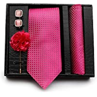 Axlon Men's Necktie, Pocket Square, Lapel Pin Cufflinks Set (Multicolour)