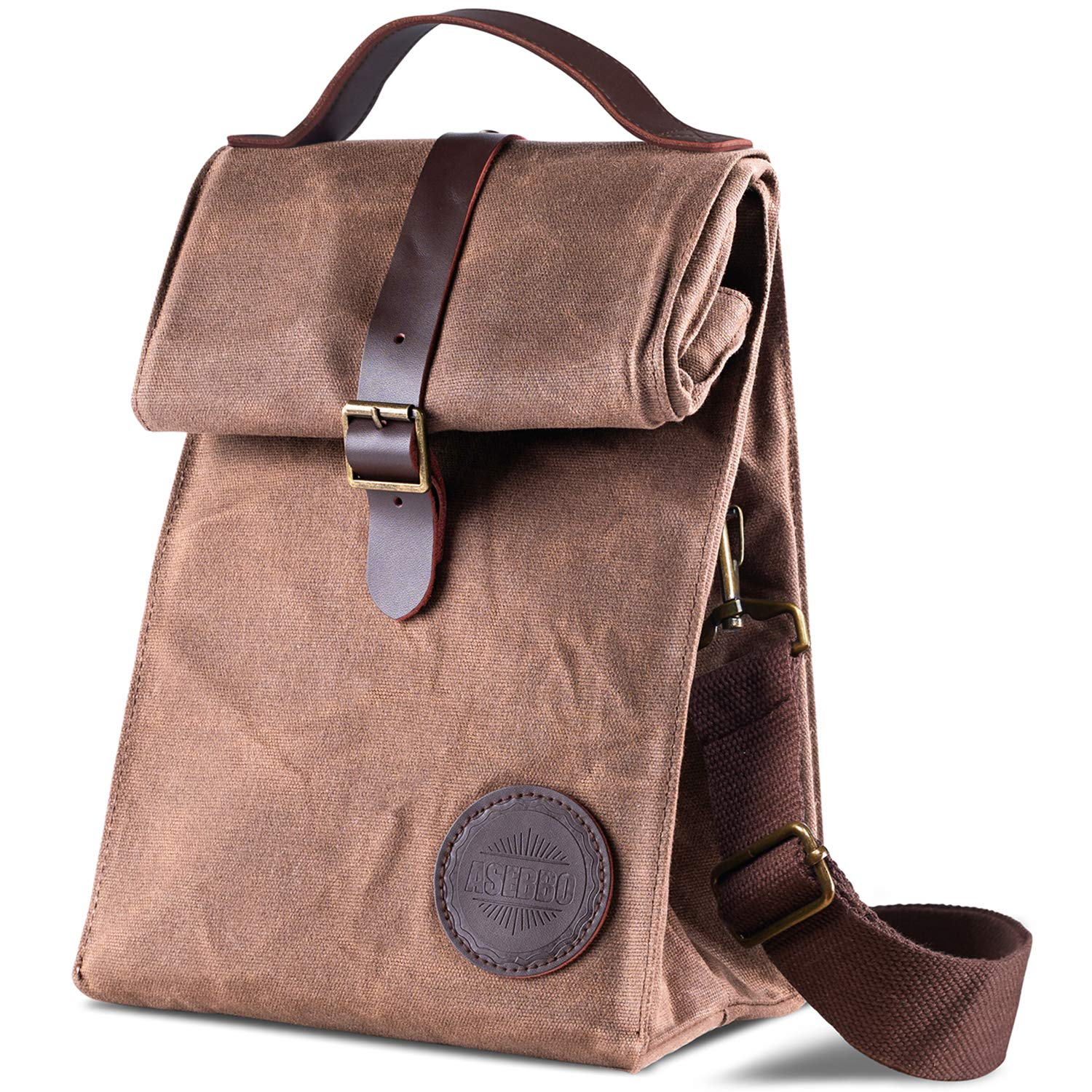 26eaded680cb Insulated Waxed Canvas Lunch Bag by ASEBBO, Lunch Box for Women, Men with  Genuine Leather Handle and Strong Buckle-Closure to Keep Your Food Cool, ...