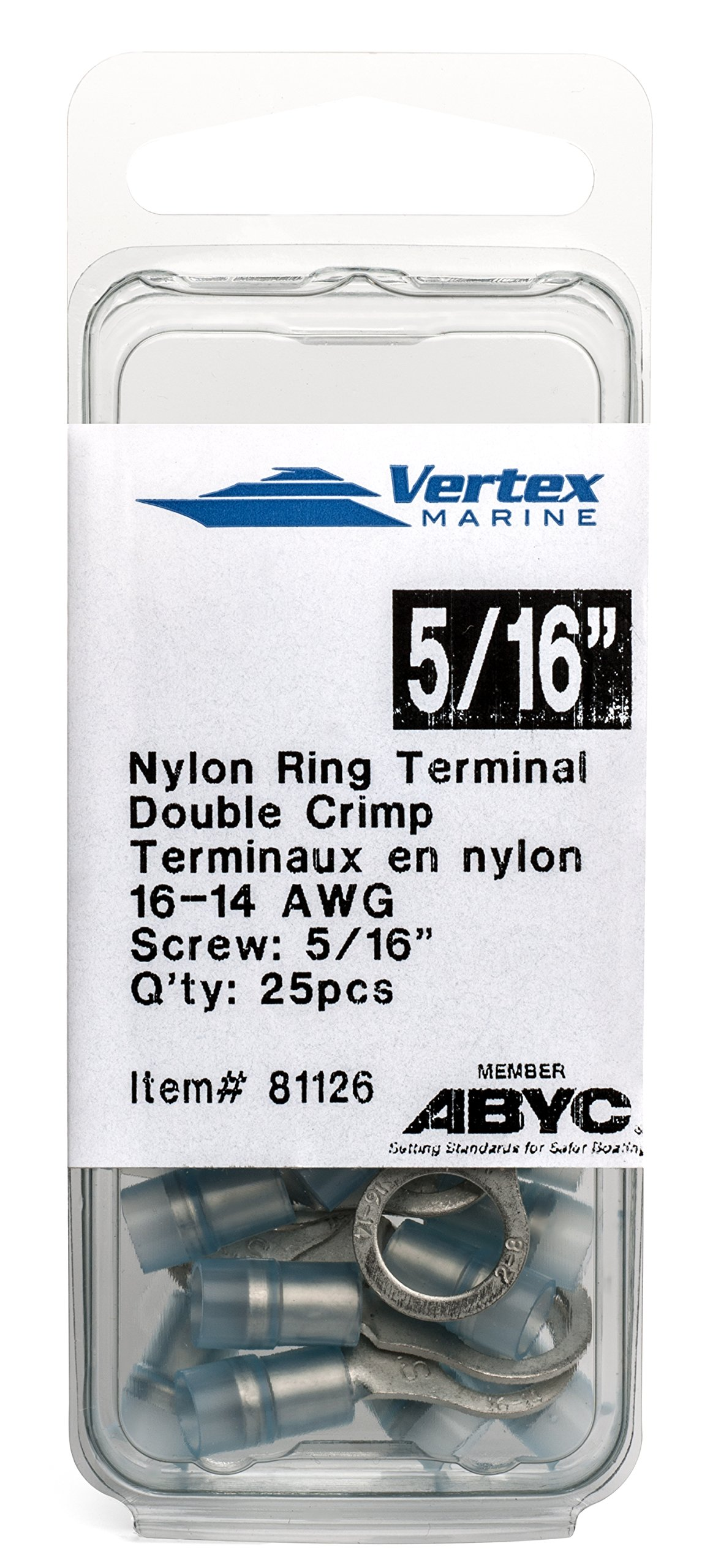 Ring Terminal Marine Grade - Nylon Insulated - Double Crimp - A81126 - 16-14 AWG - 5/16''Stud - 25 Pack