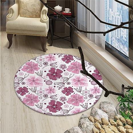 Amazon Com Purple Round Area Rug Baroque Inspired Nature Motifs