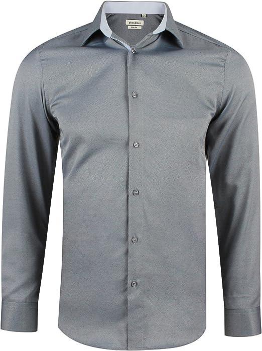 Camisa Oxford slim fit gris para hombre con manga larga talla S ...