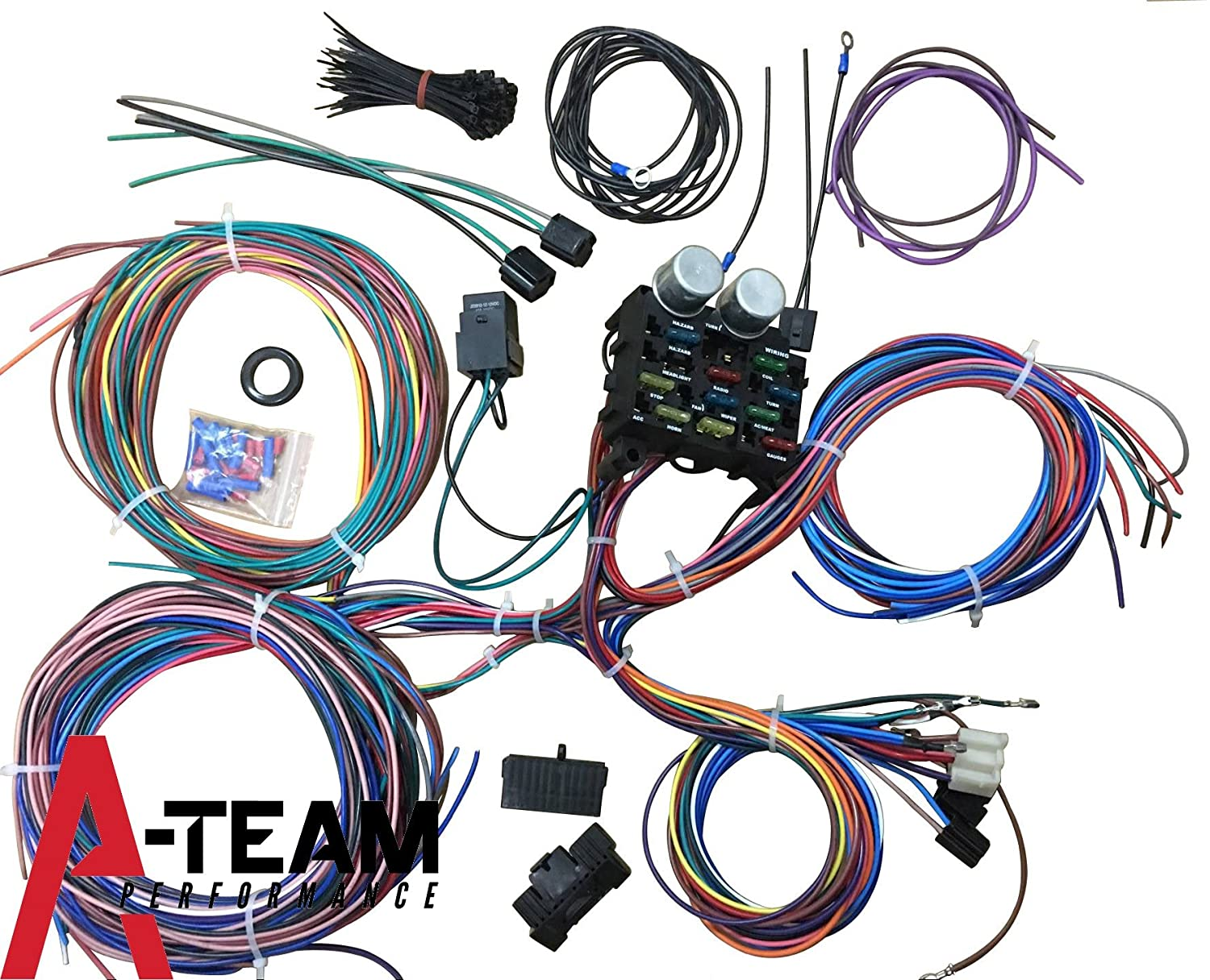 81nvGz8yhML._SL1500_ amazon com mophorn 12 circuit wiring harness 12 fuses universal best hot rod wiring harness at bayanpartner.co