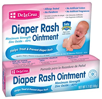 De La Cruz Diaper Rash Ointment with Maximum Strength 40% Zinc Oxide, Allergy-