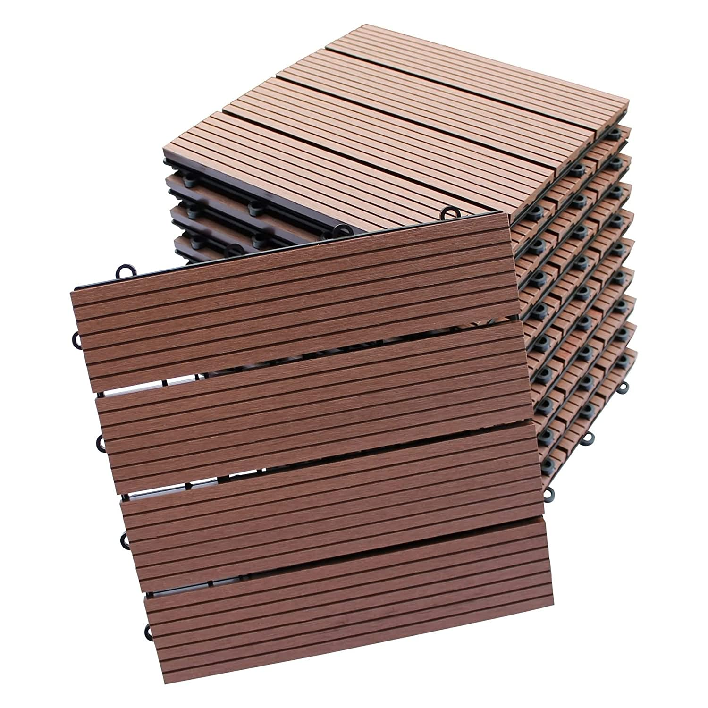 1m/²=11 Fliesen Top-Multi WPC Holz Fliese 30x30cm Light Brown 1m/²