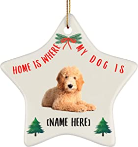 Lovesout Personalized Name Goldendoodle Golden Home is Where My Dog is Christmas Star Ornament