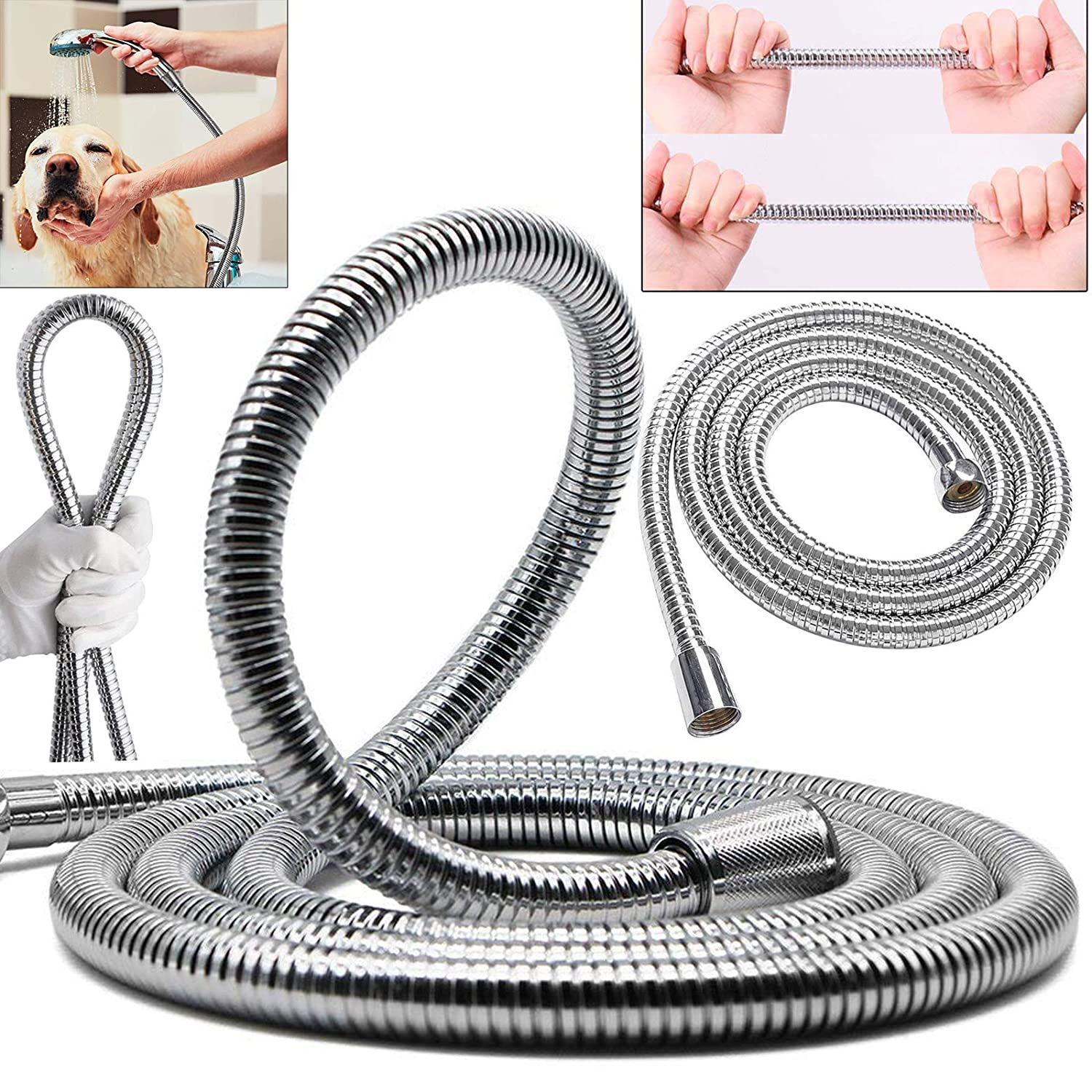 2.5M Stainless Steel Replacement Flexible Bathroom Bath Shower Hose Pipe Head Handheld With Washers Set Safekom