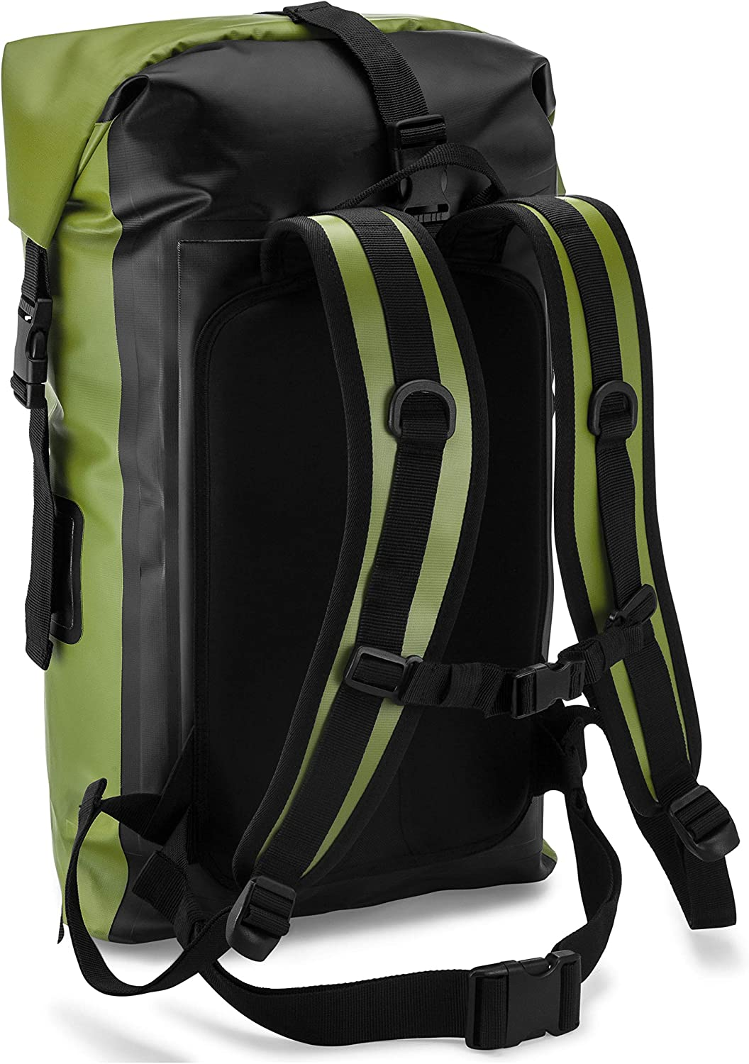 Earth Pak Waterproof Backpack 55L Heavy Duty Roll-Top Closure with Easy Access Front-Zippered Pocket and Cushioned Padded Back Panel for Comfort; IPX8 Waterproof Phone Case Included 35L
