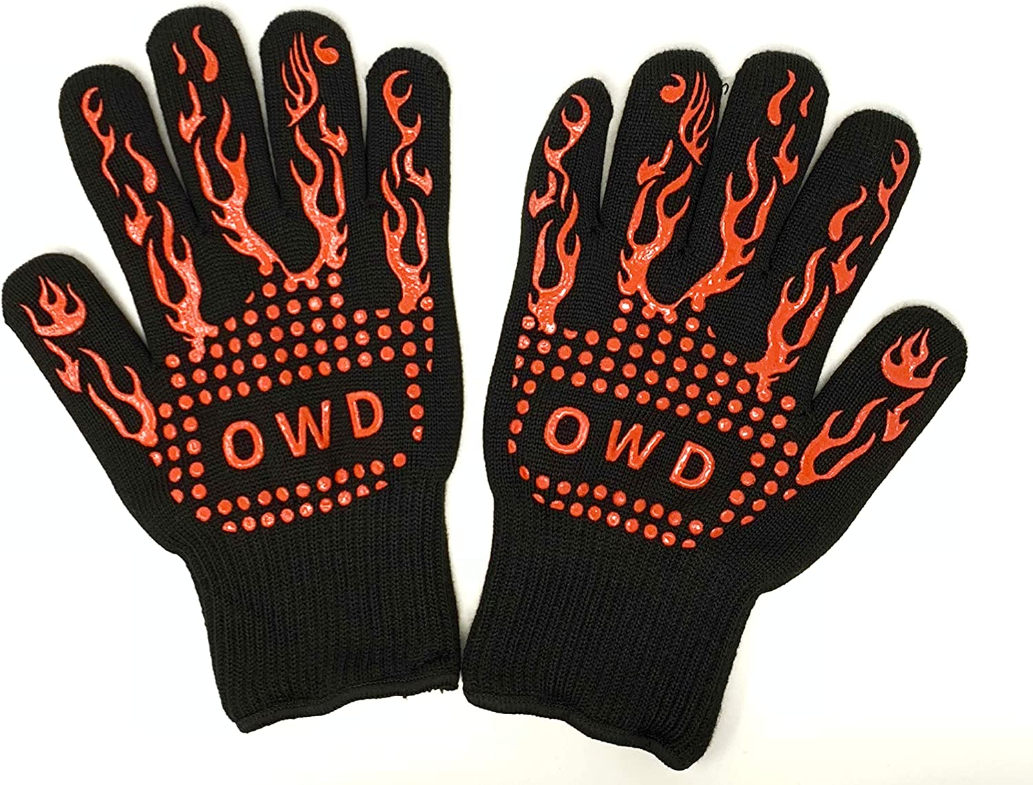 OWD Premium BBQ Grill Gloves, 932℉ Extreme Heat Resistant - Oven Silicone Glove Fireproof for Smoker Baking - High-Temp Barbecue Grilling Potholders - Heat-Insulated Cooking Mitt (Red)