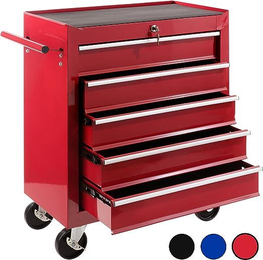 Arebos Werkstattwagen Werkzeugwagen Werkzeug Rollwagen 5 Fächer schwarz