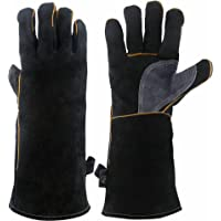 KIM YUAN Extreme Heat & Fire Resistant Gloves Leather with Kevlar Stitching,Perfect for Fireplace, Stove, Oven, Grill, Welding, BBQ, Mig, Pot Holder, Animal Handling, Black-Grey 14 inches