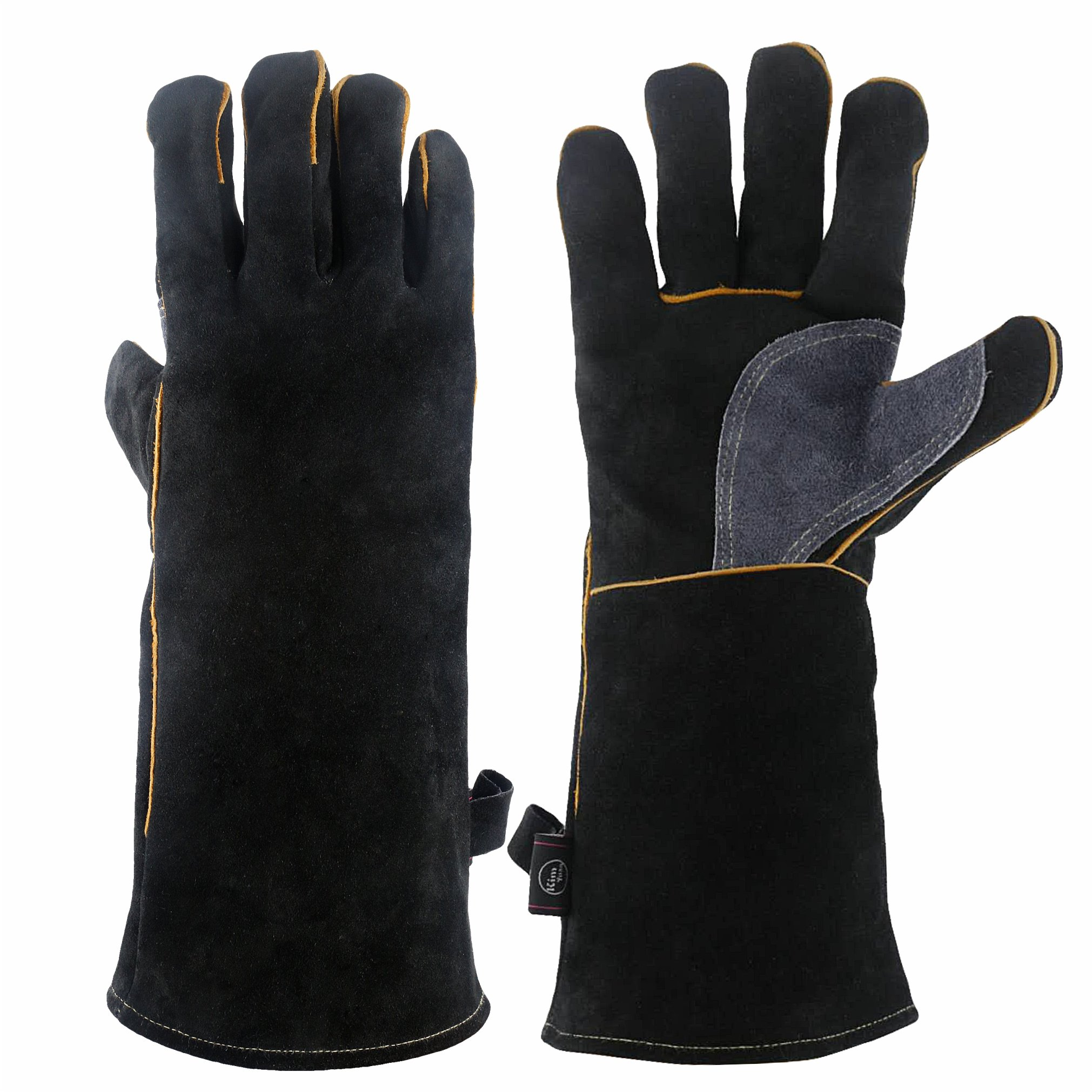 KIM YUAN Extreme Heat & Fire Resistant Gloves Leather with Kevlar Stitching,Mitts Perfect for Fireplace, Stove, Oven, Grill, Welding, BBQ, Mig, Pot Holder, Animal Handling, Black-Grey 16 inches by KIM YUAN