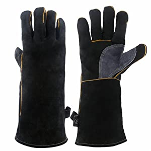 KIM YUAN Extreme Heat & Fire Resistant Gloves Leather with Kevlar Stitching,Mitts Perfect for Fireplace, Stove, Oven, Grill, Welding, BBQ, Mig, Pot Holder, Animal Handling, Black-Grey 14 inches