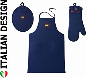 Silicone Oven Mitt Pot Holder Cooking Apron Kitchen Set- Heat Resistant Cooking Gloves, Silicone Pot Holder Apron with Pockets 100% Cotton for BBQ, Grill, Gardening, Baking- Men and Women-Red and Blue