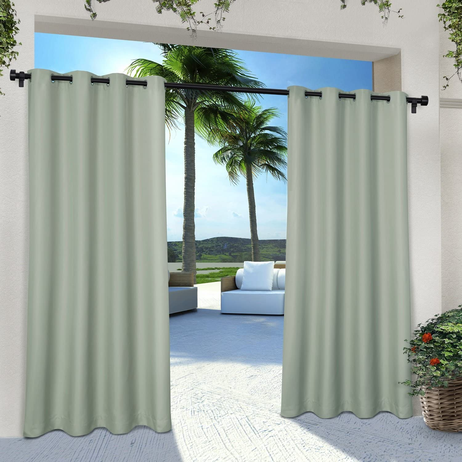Exclusive Home Curtains Indoor/Outdoor Solid Cabana Grommet Top Curtain Panel Pair, 54x96, Seafoam, 2 Piece