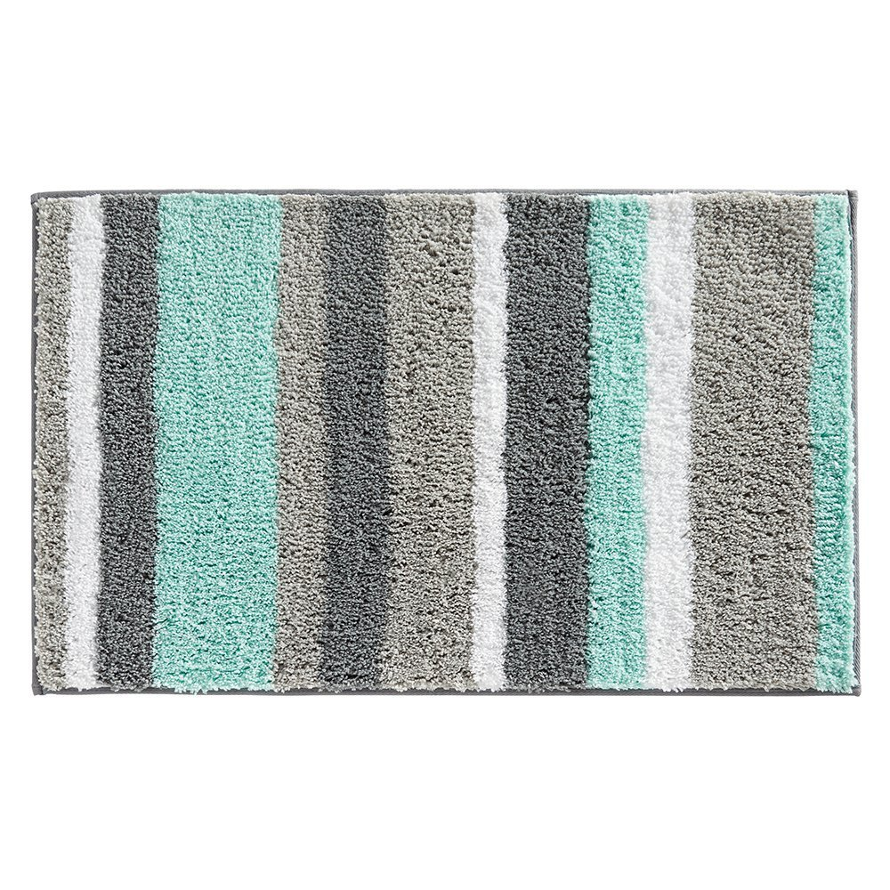 ITSMN Non Slip Microfiber Stripes Bathroom Shower Rugs, Small Bath Mats for Kitchen Floor 18 x 26 Light green