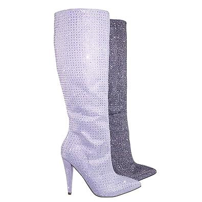 5c629bdc1b8 Aquapillar Rhinestone Crystal w Glitter High Heel Strass Dress Boots Silver