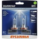 SYLVANIA H11 SilverStar High Performance Halogen Headlight Bulb, (Contains 2 Bulbs) (H11ST.BP2), White
