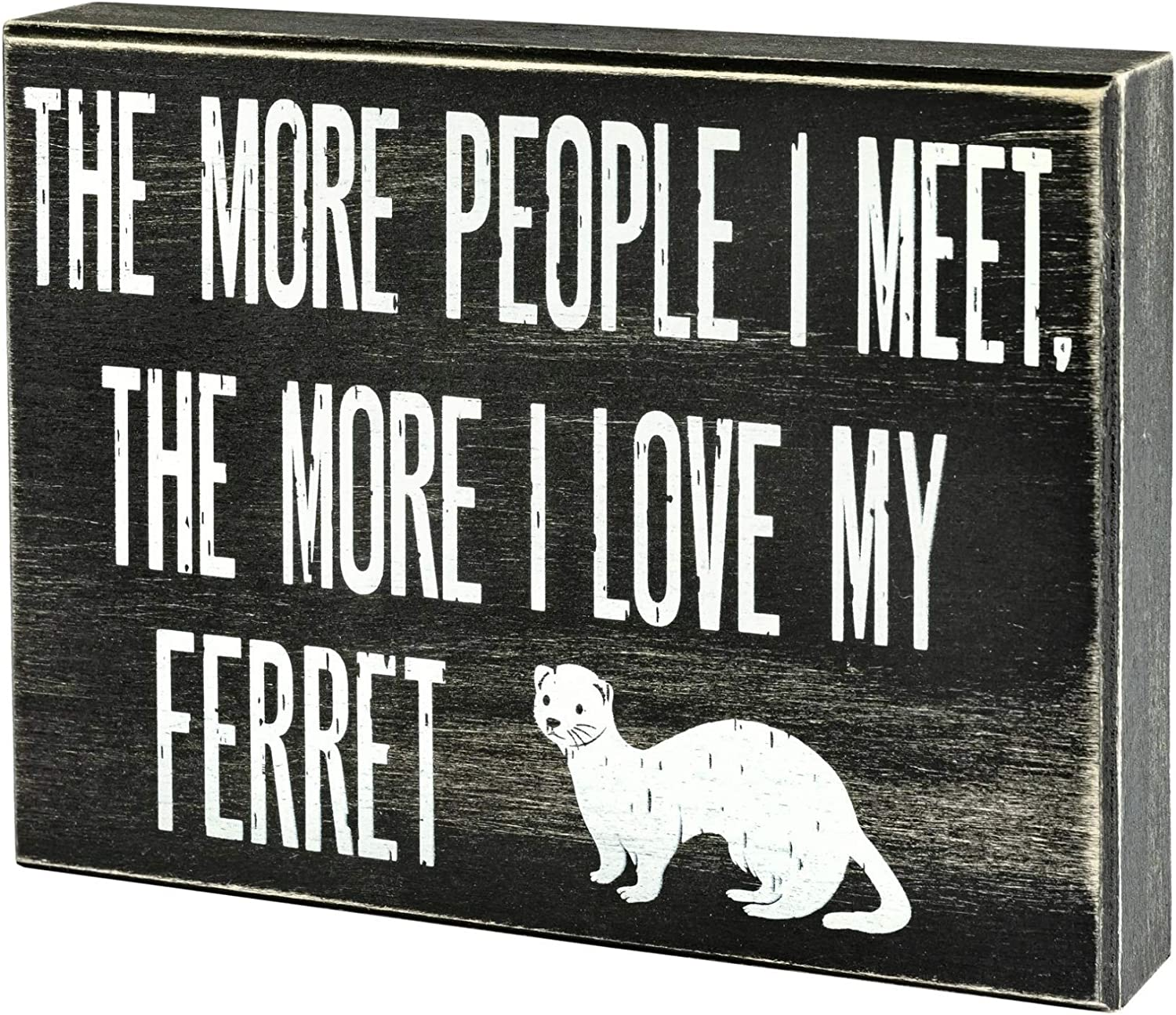 JennyGems - The More People I Meet, The More I Love My Ferret - Ferret Decor - Ferret Accessory Gift - Ferret Gifts - Ferret Sign - Shelf Knick Knacks