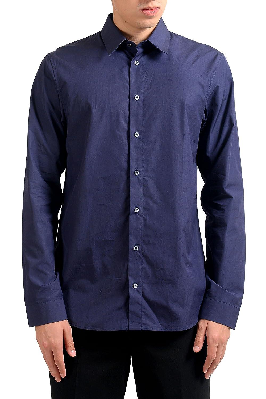 Jil Sander Mens Dark Blue Long Sleeve Dress Shirt US 16 IT 41