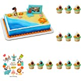 Disney Moana Complete Cake Cupcake Rings Decoration Set (1 Cake Topper, 12 Cupcake Rings) Birthday Party Supplies Favors