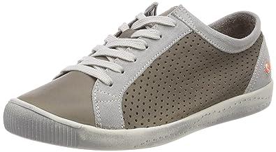 Softinos ICA388SOF Smooth/Suede, Baskets Femme, Schwarz (Black/DK.Grey), 43 EU