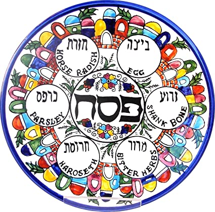 El Plato de la pascua del Séder, Plato de Pésaj con imágenes de Jerusalén,