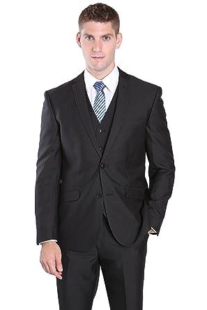 3 Piece Slim Fit Athletic Cut Suit for Men - Heather Black, 44