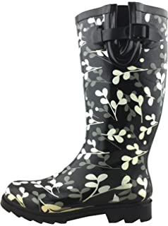 20a0a3c88 Cambridge Select Women's Pattern Print Colorful Waterproof Welly Rain Boots