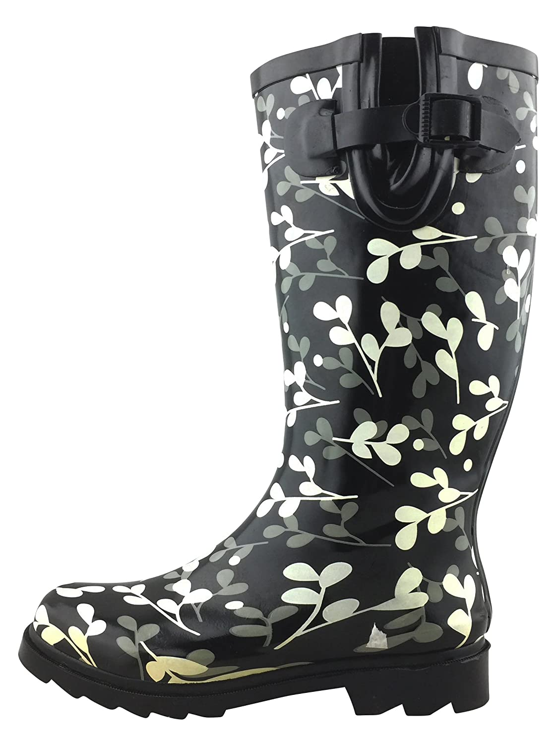 White Leaves Cambridge Select Women's Waterproof Pattern Print Knee High Welly Rain Boot