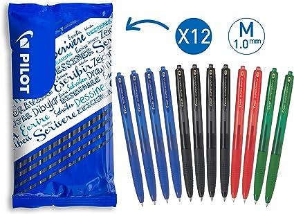 Colore Blu Confezione da 12 Pezzi Punta Media da 1,0mm a Scatto Bic Soft FeelClic Grip Penna a Sfera