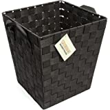 EHC Woven Waste Paper Bin Basket with Hollow Handle, Black